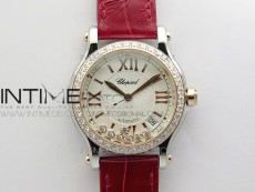 HAPPY SPORT AUTOMATIC SS/RG 36MM CRYSTAL YYF 1:1 BEST EDITION WHITE DIAL ON RED LEATHER STRAP A2892