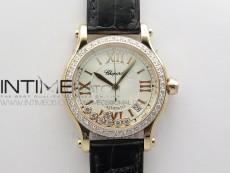 HAPPY SPORT AUTOMATIC RG 36MM CRYSTAL YYF 1:1 BEST EDITION WHITE DIAL ON BLACK LEATHER STRAP A2892