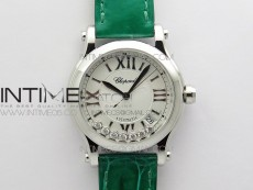 HAPPY SPORT AUTOMATIC SS 36MM YYF 1:1 BEST EDITION WHITE DIAL ON GREEN LEATHER STRAP A2892