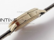 Rendez-Vous Night & Day RG ZF 1:1 Best Edition White Textured Dial Diamonds Bezel on Brown Leather Strap A898