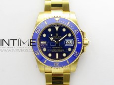 Submariner 116618 LB D1F Best Edition YG Wrapped Blue Dial on YG Wrapped Bracelet A2836