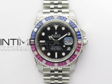GMT-Master II Red/Blue Diamonds Bezel 904L Steel GMF Best Edition SA3285 CHS V3