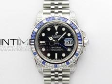 GMT-Master II White/Blue Diamonds Bezel 904L Steel GMF Best Edition SA3285 CHS V3