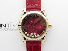 HAPPY SPORT AUTOMATIC RG 36MM ZF 1:1 BEST EDITION RED MOP DIAL ON RED LEATHER STRAP MIYOTA 9015