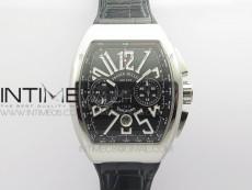 Vanguard V45 Chrono SS ABF Best Edition Black Dial on Black Gummy Strap A7750