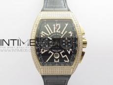 Vanguard V45 Chrono RG pave crystals ABF Best Edition Black Dial on Black Gummy Strap A7750