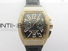 Vanguard V45 Chrono RG Pave Crystals Gold Inner Bezel ABF Best Edition Black Dial on Black Gummy Strap A7750