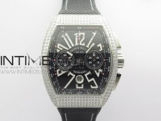 Vanguard V45 Chrono Brushed SS Pave Crystals ABF Best Edition Black Dial on Black Gummy Strap A7750