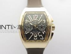 Vanguard V45 Chrono Brushed RG Case Gold Inner Bezel ABF Best Edition Gray Dial on Gray Gummy Strap A7750