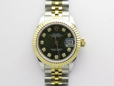 Datejust 28mm 279173 SS/YG BP Best Edition Green Crystals Markers Dial on SS/YG Jubilee Bracelet ETA2671