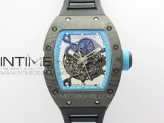 RM055 Real NTPT ZF 1:1 Best Edition Skeleton Dial on Black Rubber Strap SEIKO Movement