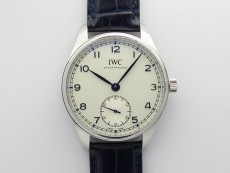 Portuguese IW358304 ZF 1:1 Best Edition SS White Dial Blue Markers on Blue Leather Strap A82200