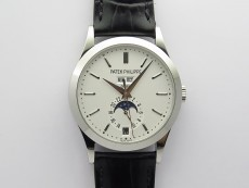 Annual Calendar Complications 5396 SS GRF Best Edition White Dial Sticks Markers on Black leather strap A324
