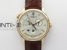 Master Geographic Real PR RG ZF 1:1 Best Edition Silver Dial on Black Leather Strap A939