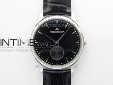 Master Ultra Thin Small Second SS ZF 1:1 Best Edition Black Dial on Black Leather Strap A896