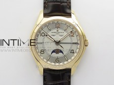 Fiftysix Complete Calendar RG 40mm ZF 1:1 Best Edition White Dial on Brown Leather Strap A2460