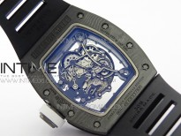 RM055 Real NTPT White Inner ZF 1:1 Best Edition Skeleton Dial on Black Rubber Strap SEIKO Movement