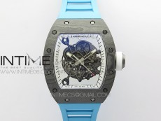 RM055 Real NTPT Blue Inner ZF 1:1 Best Edition Skeleton Dial on Blue Rubber Strap SEIKO Movement