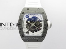 RM055 Real NTPT White Inner ZF 1:1 Best Edition Skeleton Dial on White Rubber Strap SEIKO Movement