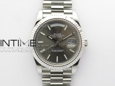 Day Date 40mm SS BP 1:1 Best Edition Gray Stick Dial on SS Bracelet A2836