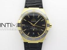 Constellation 131.33.41.21.03.001 YG TW Best Edition Black Dial On Black Gummy Strap A8500