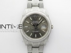 DateJust 41 126334 904 Full Paved Diamonds BP Best Edition White Dial Sticks Markers on Oyster Bracelet A2824