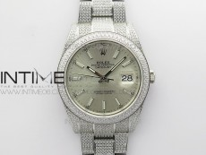 DateJust 41 126334 904 Full Paved Diamonds BP Best Edition Silver Dial Sticks Markers on Oyster Bracelet A2824