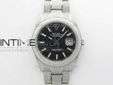 DateJust 41 126334 904 Full Paved Diamonds BP Best Edition Black Dial Sticks Markers on Oyster Bracelet A2824