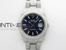 DateJust 41 126334 904 Full Paved Diamonds BP Best Edition Blue Dial Sticks Markers on Oyster Bracelet A2824