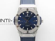 Classic Fusion 42mm SS Paved Diamonds Case/Bezel B50F Blue Dial On Blue Gummy Strap A2892