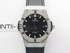 Classic Fusion 42mm SS Paved Diamonds Case/Bezel B50F Black Dial On Black Gummy Strap A2892