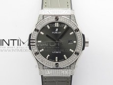 Classic Fusion 42mm SS Paved Diamonds Case/Bezel B50F Gray Dial On Gray Gummy Strap A2892