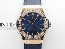 Classic Fusion 42mm RG Paved Diamonds Bezel B50F Blue Dial On Blue Gummy Strap A2892