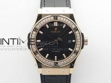 Classic Fusion 42mm RG Paved Diamonds Bezel B50F Black Dial On Black Gummy Strap A2892