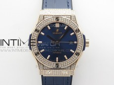 Classic Fusion 42mm RG Paved Diamonds Case/Bezel B50F Blue Dial On Blue Gummy Strap A2892