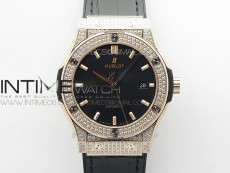 Classic Fusion 42mm RG Paved Diamonds Case/Bezel B50F Black Dial On Black Gummy Strap A2892