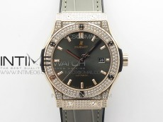 Classic Fusion 42mm RG Paved Diamonds Case/Bezel B50F Gray Dial On Gray Gummy Strap A2892