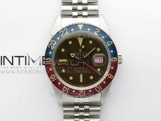 Vintage GMT Master 6542 Blue/Red Bezel Tropical Black Dial on SS Jubilee Bracelet A2836