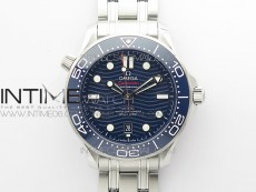 Seamaster Diver 300M ORF 1:1 Best Edition Blue Ceramic Blue Dial on SS Bracelet A8800 (Free Rubber Strap)