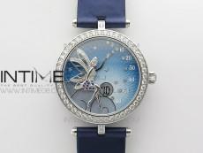 Lady F¨¦erie Paved Diamonds Case/Bezel 5G Best Edition Blue Dial Quartz