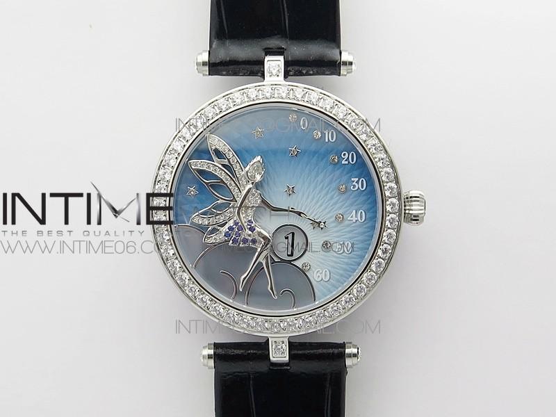 Lady Féerie Paved Diamonds Case/Bezel 5G Best Edition Blue Dial Strap Quartz