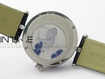 Lady F¨¦erie Paved Diamonds Case/Bezel 5G Best Edition Blue Dial Strap Quartz