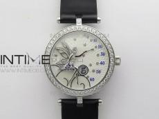 Lady F¨¦erie Paved Diamonds Case/Bezel 5G Best Edition White Dial Quartz