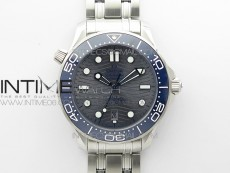 Seamaster Diver 300M ORF 1:1 Best Edition Blue Ceramic Gray Dial on SS Bracelet A8800 (Free Rubber Strap)