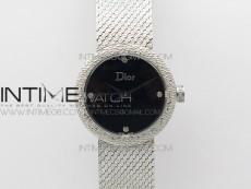 La D de dior Satine SS Case 8848F 1:1 Best Edition Black Dial on SS bracelet Swiss Quartz