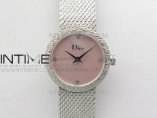 La D de dior Satine SS Case 8848F 1:1 Best Edition MOP Pink Dial on SS bracelet Swiss Quartz