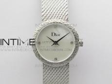 La D de dior Satine SS Case 8848F 1:1 Best Edition MOP White Dial on SS bracelet Swiss Quartz
