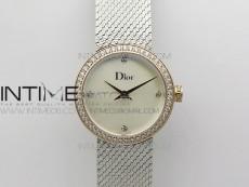 La d de dior satine SS/RG Crystal Bezel 8848F 1:1 Best Edition  White MOP Dial on SS bracelet Swiss Quartz