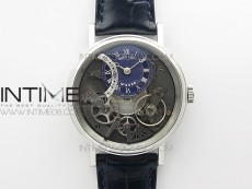 Tradition 7097BB/GY/9WU SS Real PR ZF 1:1 Best Edition Blue Skeleton Dial on Blue Leather Strap A505