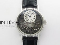 Tradition 7097BB/G1/9WU SS Real PR SF 1:1 Best Edition Silver Skeleton Dial on Black Leather Strap A505